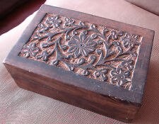 Hand Carved Woodenware Indian Wooden Box Floral design on the top lid