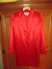 Ladies Carlisle Red Silk Wool Blend Long Duster Blazer Jacket Size 6