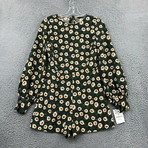 Zara Romper S Small Green Floral Print Long Sleeve Shorts One Piece Womens NWT