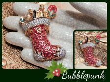 Designer Signed St John Austrian Crystal Rhinestone Christmas Stocking Pin