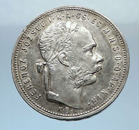 1881 HUNGARY w King Franz Joseph I Hungarian Antique Silver Forint Coin i72463