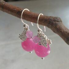 ACHAT Ohrringe PINK 925 Silber Blume Blüte rosa Sterlingsilber g345