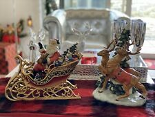 Porcelain Santa Claus Figurine Oriental Sleigh Reindeer Decorations Christmas