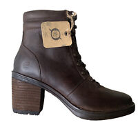 Born Womens Combat Boots Moto Brown Leather Zip Up Block Heel Size 8.5
