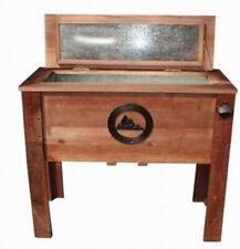 Rustic Wooden Outdoor Cooler 45 Quart Wood w/ Steel Liner Insulated Patio Deck