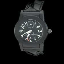 De Grisogono Instrumento Tondo Automatic GMT with Power Reserve. PVD Black Strap