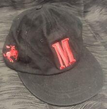 VTG Black Red Marlboro Strapback Cap Bronco Baseball Hat Cigarettes Tobacco Man