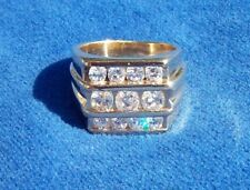 MEN'S 14K YELLOW GOLD CHANNEL SET DIAMOND RING*