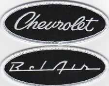 CHEVY BEL AIR BLACK WHITE SCRIPT SEW/IRON ON PATCH BADGE EMBROIDERED 1955-1960