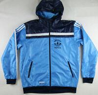 /// Adidas Originals Men Medium Light Jacket Windbreaker Hooded Blue Allcourt