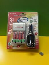 Uniross Ultra Easy Charger And 4 AA Rechargeable Batteries And Car Charger