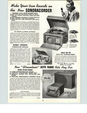 1942 PAPER AD Sonoracorder Make your own Records Phonograph Record Player Car