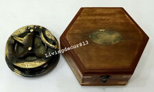 "Nautical Antique Brass 4"" West London Sundial Compass With  Wooden Box"