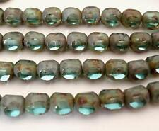 25 6 mm Czech Glass Antique Style Triangle Beads: Teal - Picasso