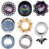 PAIR Stainless Steel Silver Flower Gems-Ear Gauges-Screw Fit  Ear Plugs-Eyelets