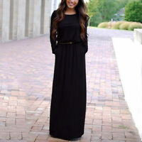 Casual Ladies Long Sleeve Belted Party Evening Cocktail Long Maxi Dress