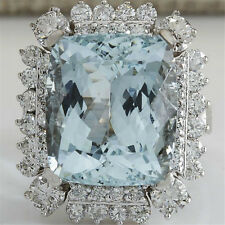 925 Silver Square Aquamarine Sapphire Crystal Jewelry Ring Women Wedding Size 8
