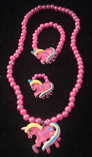 Unicorn Jewelry Set For Children Kids Necklace Bracelet Ring, Pink, Gift Wrapped
