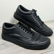 "Vans Black Leather, Uk Size 6 all black VGC ""off the wall"""