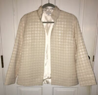 Grace Chuang cream white tone on tone houndstooth pattern jacket size L Large