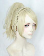 Final Fantasy XV FF15 Lunafreya Nox Fleuret Wig Braid Ponytail Cosplay Wig + Cap