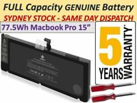 """FAST A1382 Battery For Apple MacBook Pro 15"""" early late 2011 Mid 2012 Series OZ"""