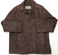 Wilsons Leather Jacket Car Coat XL Julian Brown Mens Soft Long Button Front