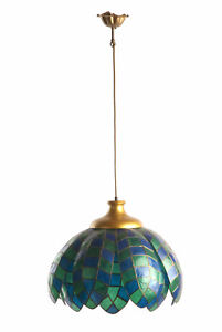 Stylishe Perlmutt Decken-Hänge-Leuchte Gold kult vintage pearl pendant lamp