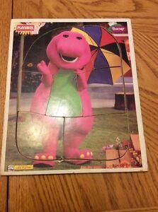 Playskool Wooden Puzzle Barney Purple Dinosaur 7 Piece1996 With Umbrella