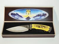 Collector Wolf Knife Fury In Box Yellow Handle Great Condition