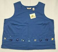 Bechamel Womens Tank Top Blue Sleeveless Square Neck Embroidered Plus 3X New