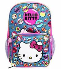 """Hello Kitty 16"""" Large School Backpack with Insulated Lunchbox Lunch Kit Bag"""