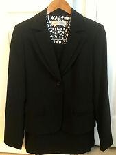 Tahari ASL Black Skirt Suit - Double Lapel Blazer Pleated-Back Skirt - Sz 4 NWOT