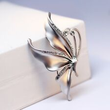 Silver Butterfly Flowers Brooch Pin Crystal Rhinestones Wedding Fashion Jewelry
