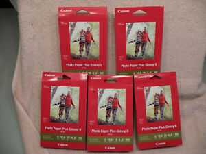 Lot of 5 Boxes Brand New Canon Photo Paper Plus Glossy II 4x6 PP-301, FREE SHIP!