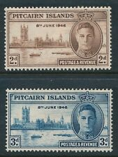 1946 PITCAIRN ISLAND VICTORY WWII SET OF 2 MINT HINGED MH