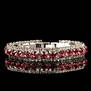 Womens Pink Crystal Tennis Bracelet Bangle Jewelry Wedding Bridal Party Silver