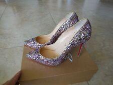NEW CHRISTIAN LOUBOUTIN Pigalle Follies Glitter Rose Gold Heels Pump Shoe 40.5..