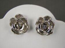 "Silver tone crystal rose rosette flower floral stud post earrings 11/16"" wide"