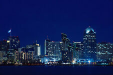438093 Night Skyline From Harbor Island A4 Photo Print