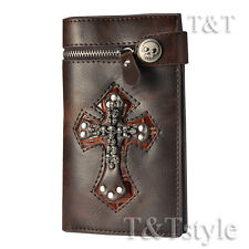 T&T Punk Brown Leather Skull Cross Wallet Medium Size H14D