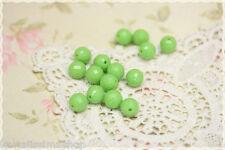 20pz Perle tonde sfaccettate colore FLUO VERDE  in plastica   1,1 cm