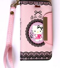 iPhone 5C - HELLO KITTY LEATHER WALLET FLIP POUCH CASE COVER PINK LACE HEART
