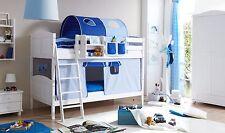 Lit superposés ERNI Pin massif teinté blanc tissus Bleu clair-Bleu foncé