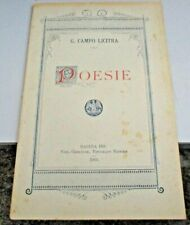 POESIE di G. CAMPO LICITRA - TIP. V. CRISCIONE RAGUSA 1901 originale prima ed.