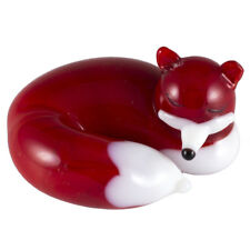 "Miniature Hand Blown Glass Red Sleeping Fox Figurine 1.5"" Long New!"