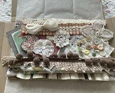 Slow Stitch Fabric & Embellishment Pack Junk Journal Neutral tones 30 Items