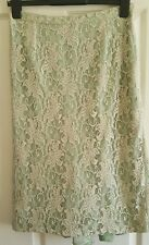 Beautiful Coast Pencil skirt in light green with cream lace size 12 VGC