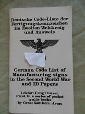 German Codes pocket List of manufacturing signs ID papers MILITARY  Rare