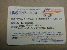 Rare Vintage 1958 Continental American Trailways Annual Bus Pass #723
